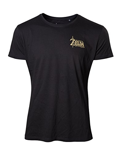 The Legend Of Zelda - Breath Of The Wild - Golden Game Logo T-Shirt schwarz L [Importación alemana]