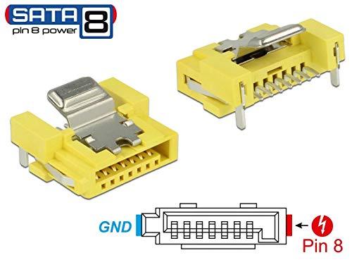 DeLock connector SATA 6 Gb/s stekker, 8-pins power verbinding, geel