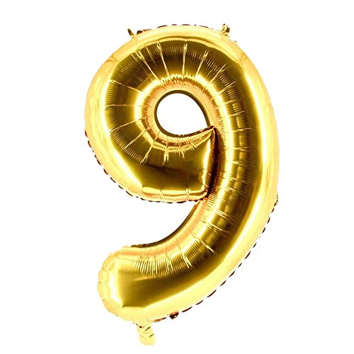 Party Factory XXL Folienballon Zahl 9, Luftballon 100cm, gold, Geburtstag, Abi, Jubiläum, Party Ballon, Heliumballon, Deko
