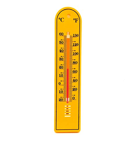 Thermocare thermometer for room temperature mercury Wall mounting analog Yellow