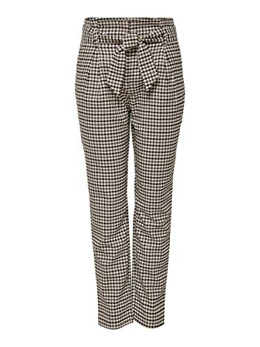 Only Onllena HW Paperbag Check Pants CC TLR Pantalones, Verde (Grape Leaf Grape Leaf), Talla Única (Talla del Fabricante: 40) para Mujer