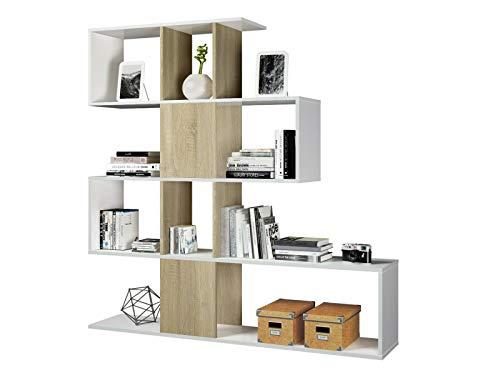 Elche Libreria da Parete, Design Zig Zag, Scaffale Mensola Moderna, 145 x 145 x 29 cm, Bianco e Legno Rovere