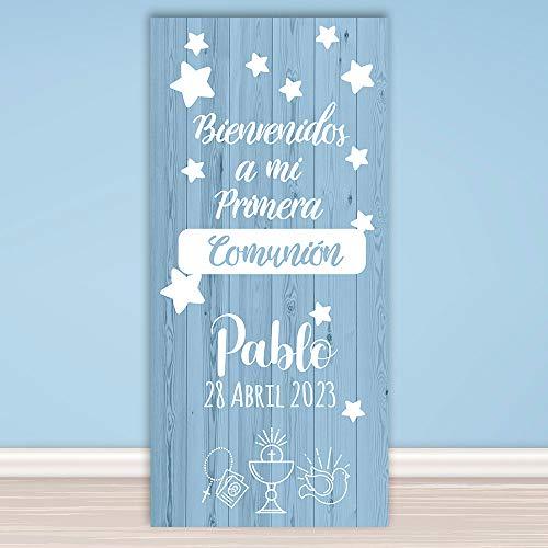setecientosgramos Decoración Comunión | Cartel Comunión SimpleBlue | 70cm x 150cm