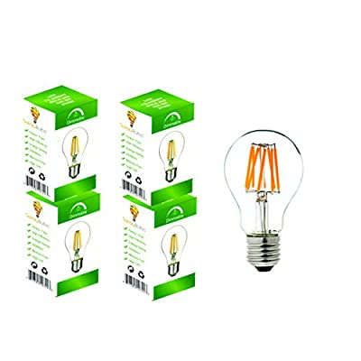 LED A19 Filament Light Bulbs, 8W (60 Watts Equivalent) Soft White 2700K, Dimmable With 360° Beam Angle - By Solray