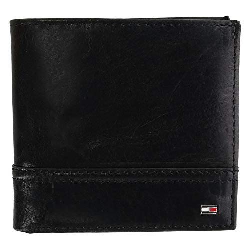Tommy Hilfiger Mens Rfid Leather Hipster Bifold Wallet Black