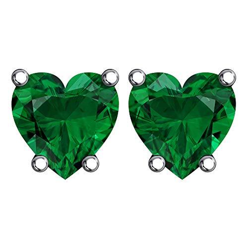 Gemsonclick Craeted Emerald 925 Forma del cuore dell'argento sterlina Jewelry Orecchini Per Donne Bambine Birthstone moda, classico solitario in Messaggio con la parte posteriore di attrito
