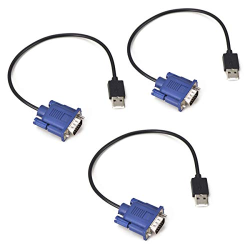 Evanlak USB-VGA-Attrappe, Headless Ghost, funktionsstabil, Dummy-Stecker, leitfähige Leistung, Headless-RGB-Display-Emulator, Betriebssystem, Boot- und Last-Auflösungen bis zu 1080p @ 60 Hz, 3er-Pack