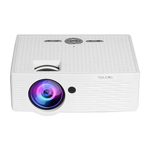 ODLICNO Mini Proyector,Multimedia Proyector Portátil Full HD 1080P,Projector de Cine en Casa Compatible con HDMI/VGA/USB/AV/Tarjeta TF...