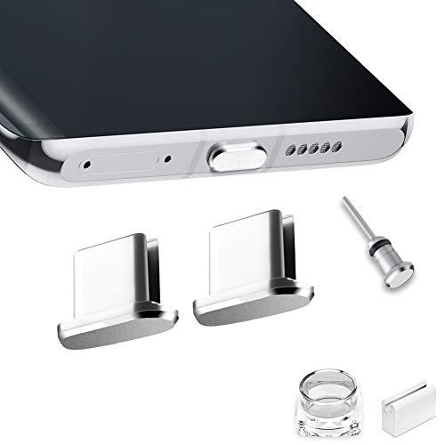 VIWIEU USB Type C キャップ コネクタ防塵保護カバー、 携帯タイプc ポート充電穴端子防塵プラグ 精密アルミ製で高級感が 超耐久 3.5MMイヤホンジャック用 SIMカード取り出す 防塵 防砂 防水 タブレット/スマホ対応 (2個 銀) 紛失防止ホルダーとケース付き ワイヤレス充電に対応 SAMSUNG S20 Note 20, Xperia XZ, AQUOS S2 対応
