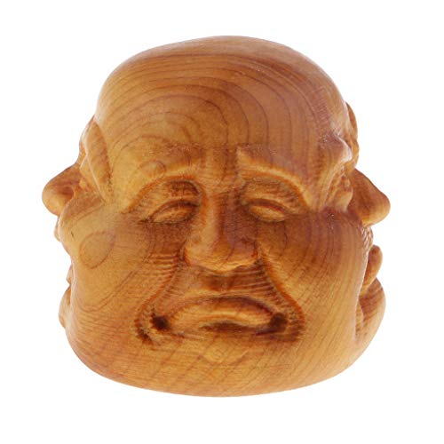 Bonarty Kleine Buddha Kopf Statue Aus Holz Mit 4 Gesichtern 4cm