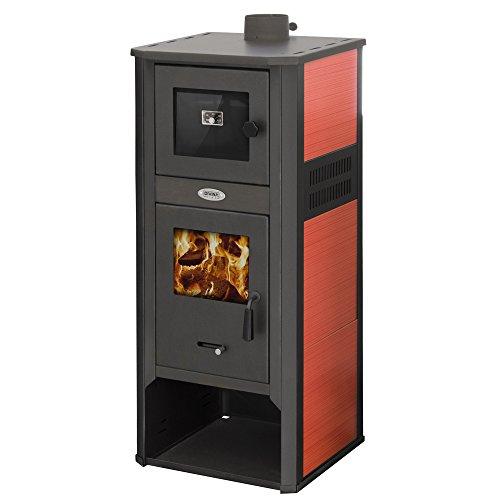 Divina Fire Stufa a legna 10-12Kw acciaio rossa con forno riscaldamento DF51702