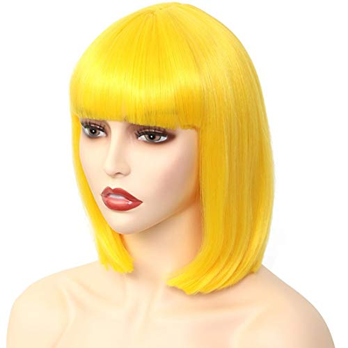Akkya Yellow Bob Wigs with Bangs for Women Short Colored Straight Synthetic Hair Yellow Wig for Party Halloween Costume Cosplay (12inch,Yellow)