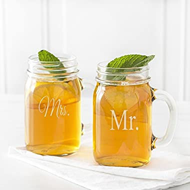 Cathy's Concepts Mr. and Mrs. Old Fashioned Drinking Jar Set, Clear