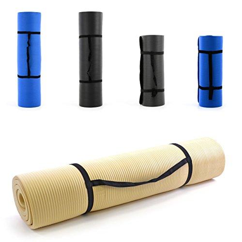 Nexos Yoga-Matte extra-dick extra-breit XXL Gymnastikmatte Fitnessmatte Pilates-Matte schadstofffrei mit Tragegurt 190 x 102 x 1,5 cm Farbe Creme Turnmatte