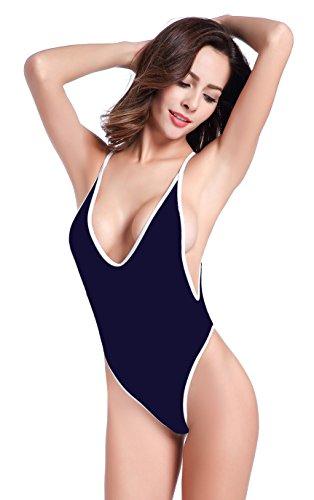 SHEKINI Damen Einteiliger Badeanzug Push up String Tanga Bikini Schwimmanzug Monokini (Small,Tiefes Blau)
