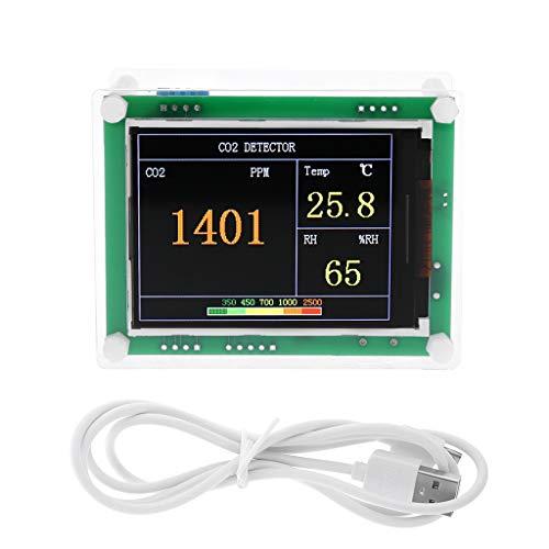 Digitaler CO2-Messgerät für Auto und Zuhause, Kohlendioxid-Detektor, Lufttester für Innen- und Außenbereich, CO2-Temperatur, Luftfeuchtigkeit, Gas-Analysator