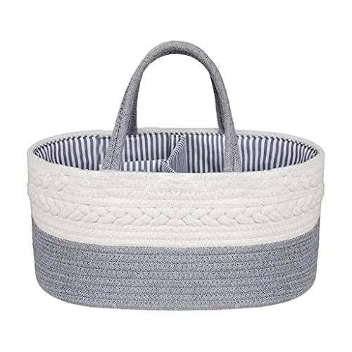 Sharplace Organizador de carrito de pañales de algodón para bebés, canasta de almacenamiento de guardería con compartimentos extraíbles, canasta de