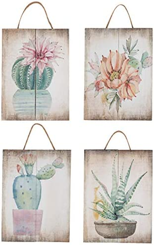 Juvale Wooden Wall Ornament 4 Piece Small Hanging Decorations Cactus Succulents Design Natural product image