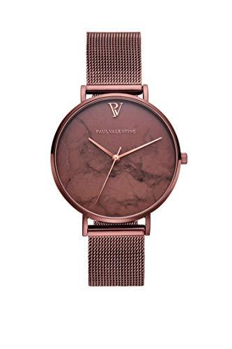 Paul Valentine Damenuhr - Coffee Marble - Armbanduhr mit Metallic-Ziffernblatt, kratzfestes Glas, schmales Mesh-Armband braun, Uhr für Damen zum (36mm)