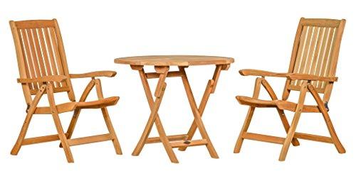 3 teilige Sitzgruppe aus haltbarem Teakholz ✓ 2X Hochlehner Pisa + 1x Tisch Ravenna Ø 90 ✓ Wetterfest ✓ Nachhaltiges Plantagenholz ✓ Klassisch geformte Balkon-Gruppe, Sitzgruppe aus Holz