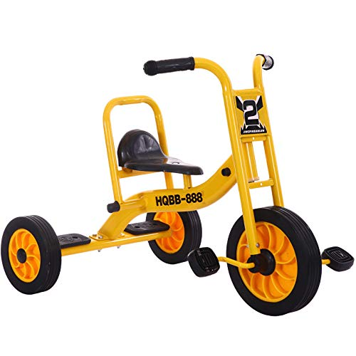 WANG-L Kinder 3-Rad Dreirad Pedal Trike Tandem Fahrrad Kindergarten Early Education Bike 2-8 Jahre Alt,Yellow