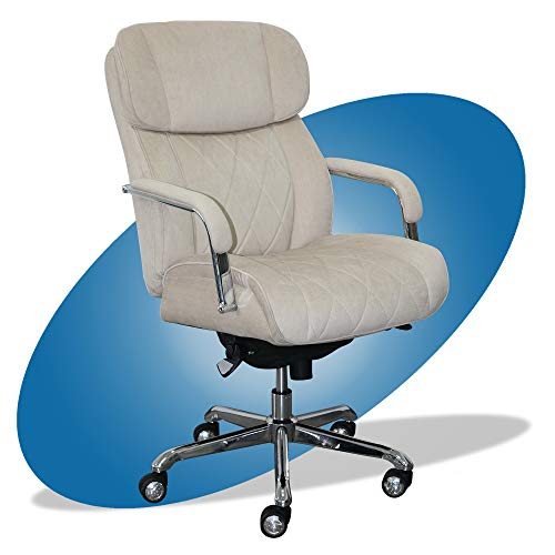 La-Z-Boy Sutherland Quilted Leather Executive Office Chair with Padded Arms, High Back Ergonomic Desk Chair with Lumbar Support, Cream Microfiber Fabric