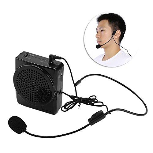 Vbestlife Altavoces de enseñanza del micrófono del Amplificador del aumentador de presión de la Voz Recargable portátil con la Pretina(Black)