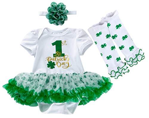 AGQT Día de San Patricio Traje para niñas bebés Tréboles Verdes Body Tutu Vestido Diadema Calentadores de piernas 3PCS Set 1er día de San Patricio 6-12 Meses