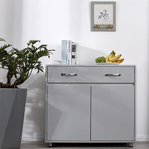RASOO Small Buffet Cabinet Kitchen Storage Sideboard Cupboard Buffet Server Storage Console Table with 2 Doors and 1 Drawer (Grey)