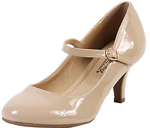 City Classified Comfort - Kirk, runde Spitze, Mary-Jane, besonders gepolsterte Innensohle, Elegante Komfort-Pumps Damen, Beige (Dk Beige Pt), 6.5 M EU