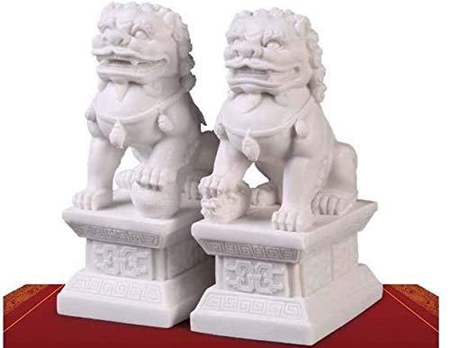 LEILEI Feng Shui Wealth Porsperity Par de estatuas de Perros Beijing Fu Foo Jade de mármol Blanco,protección contra la energía maligna,decoración de Feng Shui Fu Foo Dogs Figurine