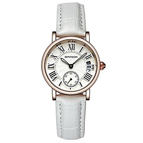 Uhren für Frauen, Dame Analog Round Quartz Lederband Date Watch klassische Armbanduhr(White Strap)