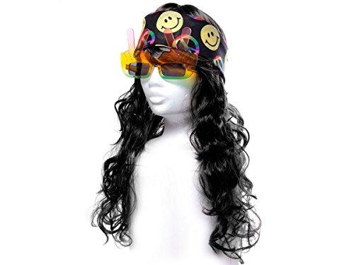 Alsino Déguisement Look Hippie (KV-81) Ensemble de 3 Accessoires: Perruque Longue Cheveux, Lunettes Peace et Bandana Multicolore Peace and Love De qualité supérieure Ambiance Unisex Homme Femme