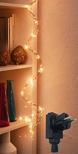 LED Lichterschweif/mit 200 LED beleuchtet/Timerfunktion/Dimmerfunktion / IP44 / Draht-Lichterkette - Lichterbündel - für Innen- & geschützten Außenbereich (LED: bernstein | Draht: kupfer)