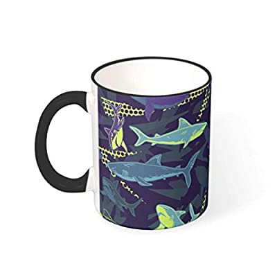 Fairyshop Custom Coffee Mug Cup Shark Camouflage Design Ceramic Drinking Mugs Mom Dad Gift (10 Colors)
