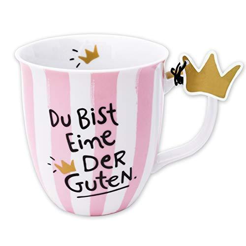 H:)PPY life 45979 Tasse mit Spruch Die Guten, Geschenk Freundin, Porzellan, 40 cl