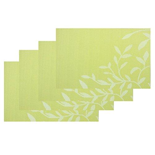 Jeu de tapis table de 6, isolation de Set de table PVC anti-dérapant isolation lavable revêtement protecteur pour Table tapis pour Table de cuisine(Rouge)