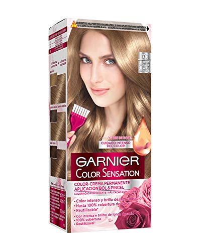 Garnier Color Sensation coloración permanente e intensa reutilizable con bol y pincel - 7.1 Rubio Diamante. Pack de 3