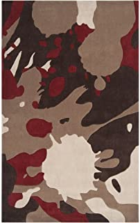 CC Home Furnishings 2' x 3' Abstract Paint Splatter Maroon Red and Biscotti Area Throw Rug