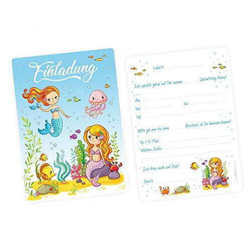 nikima Schönes für Kinder 5 Einladungskarten Meerjungfrauen mit Glitzer inkl. 5 Transparenten Briefumschlägen Kindergeburtstag Mädchen Einladung