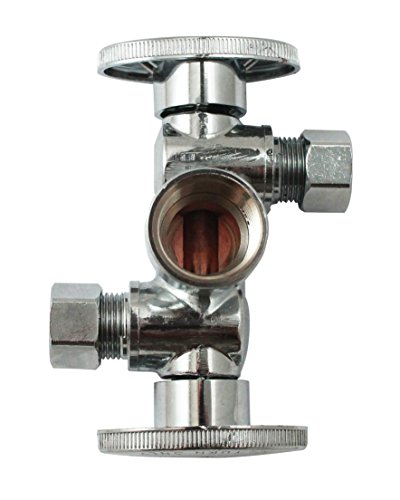 Quarter Turn 3 Way Valve 1/2-Inch FIP by 3/8-Inch OD by 3/8-Inch OD Dual Handle, Lead-Free
