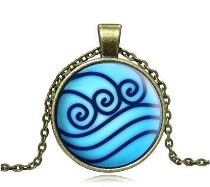 Avatar Halskette mit Glasfliesen-Anhänger, Metallfassung, inkl. Kette