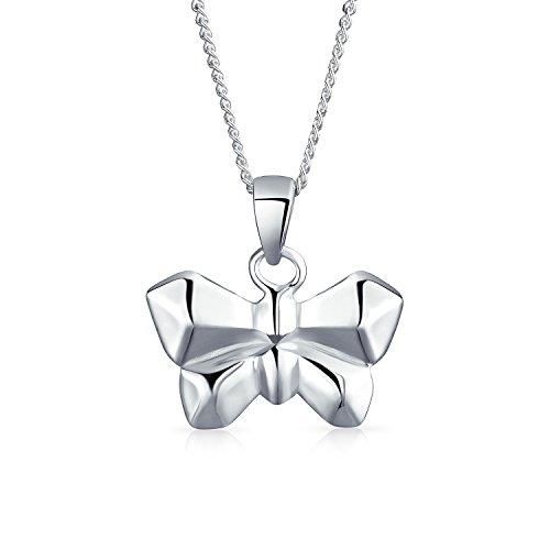 3D Geométricas Diminuto Jardín Colgante Collar De Mariposas De Origami Para Mujer Adolescente 925 Plata De Ley 925