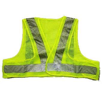 安全・サイン8 ショート丈安全ベスト エアースルーベスト メッシュ+ビーズ反射 黄色/白反射 AFV50-YW-S