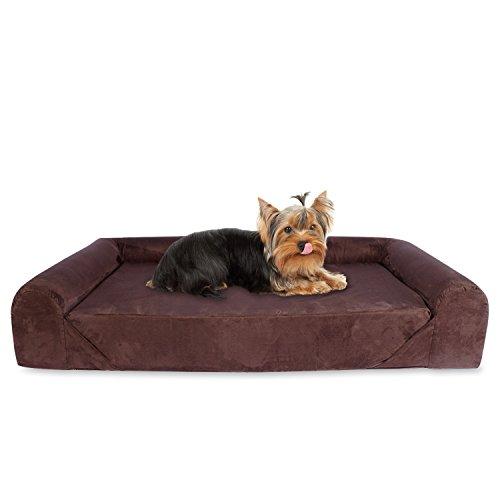 KOPEKS Deluxe ortopedico in memory foam per divano letto per cani, misura piccola, marrone
