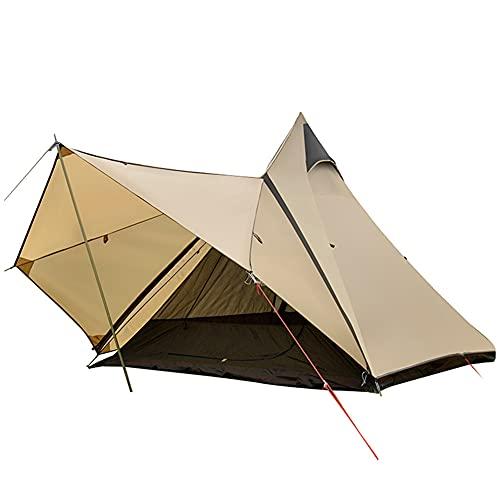 Tiendas de Campaña Familiares para 3-4 Personas, Doble Capa Impermeable, Ventilación Fácil de Instalar, para Practicar Senderismo, Trekking, Campamento, Playa, Aventura (Camel)