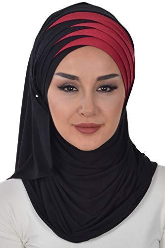 Jersey Shawl for Women Cotton Wrap Modesty Turban Cap Scarf Black-Maroon