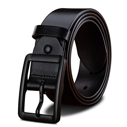 LUCIANO Clásico Italia Piel de Vaca Suave y Genuina Hebilla de Cuero Vestido Cinturón para Hombres