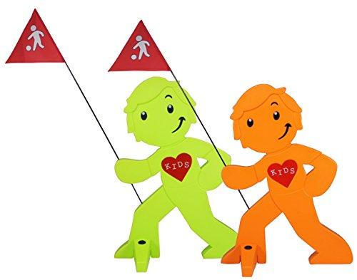 StreetBuddy - Kindersicherheit, Warnfigur, -aufsteller, 2er Set, Grün / Orange