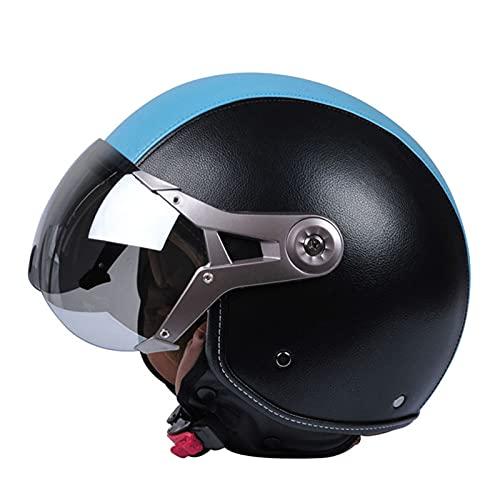 DDZY Casco Jet Casco de Motocicleta Casco de Scooter ciclomotor Casco de ciclomotor Machete Retro Vespa Retro piloto Motorista ECE 22.05 Visera Solar,Azul,XL